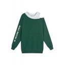 Fake Two-Piece Fashion Cold Shoulder Long Sleeve Letter Pattern Sweatshirt