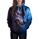 Wolf Head 3D Print Long Sleeve Loose Pullover Hoodie