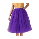 Simple Plain Sheer Mesh Layered Midi Puff Skirt