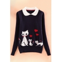 Fashion Cute Animal Print Peter Pan Collar Long Sleeve Pullover Sweater