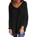 Fashion Textured Detail V-Neck Long Sleeve Loose Fit Pullover Sweater