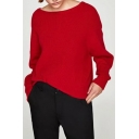 Chic Simple Round Neck Contrast Bow Back Long Sleeve Pullover Sweater