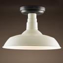 Black and White Classic Barn Foyer Small LED Semi Flush Mount Ceiling Light