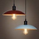 Industrial Pendant Light with 12.6''W Dome Metal Shade, Blue/Red