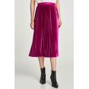 New Stylish High Waist Simple Plain Midi Pleated Skirt