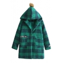 Classic Plaid Print Single Button Faux Fur Ball Embellished Hooded Tunic Coat