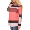 Color Block Panel Sequined Elbow Patchwork Round Neck Long Sleeve Top