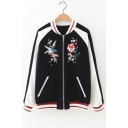 Chic Embroidery Floral Bird Pattern Stand-Up Collar Color Block Zipper Jacket