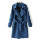New Stylish Belted Waist Notch Lapel Long Sleeve Plain Tunic Duster Coat