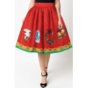 Hot Fashion Digital Christmas Pattern High Rise Midi Flared Skirt