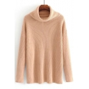 Basic Plain High Neck Long Sleeve Pullover Sweater in Loose Fit