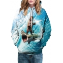 Fashion 3D Surfing Bear Pattern Long Sleeve Sports Leisure Unisex Hoodie