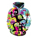 Casual Loose Sports Fashion 3D Cartoon Printed Hoodie with Pockets