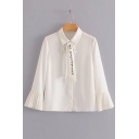 Chic Lapel Letter Embroidered Tie Front Flared Pleated Cuff Long Sleeve Buttons Down Shirt