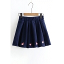 New Stylish Embroidery Peach Pattern Elastic Waist Mini Pleated Skirt