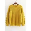 New Stylish Pom Pom Embellished Long Sleeve Round Neck Pullover Sweater