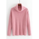 Ne Stylish Turtle Long Sleeve Simple Plain Loose Pullover Sweater