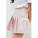 Plain High Waist Crisscross Side A-Line Pleated Short Skirt