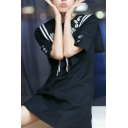 Letter Embroidered Navy Collar T-shirt Mini Dress