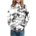 Color Block Smog Pattern Long Sleeve Loose Pullover Hoodie