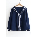 New Stylish Bow Tie Embellished Round Neck Long Sleeve Color Block Blouse