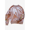 Chic Dragon Embroidered Side Round Neck Long Sleeve Satin Pullover Sweatshirt