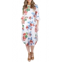 Chic Floral Pattern Round Neck Flare Half Sleeve Midi A-line Dress