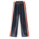 New Stylish Color Block Striped Side Elastic Waist Wide Leg Pants