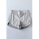 New Stylish Color Block Striped Trim Dipped Hem Elastic Waist Sport Shorts
