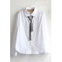 Simple Plain Striped Peter Pan Collar Long Sleeve Buttons Down Shirt with Tie