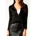 Notch Lapel Single Button Dip Hem Slim Cropped Blazer