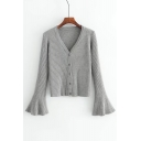 Basic Simple Plain Flared Sleeve V Neck Buttons Down Cardigan