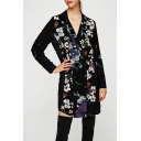 Fashion Floral Pattern Notched Lapel Collar Long Sleeve Double Breasted Blazer Dress