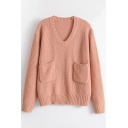 Simple V-Neck Long Sleeve Pullover Sweater with Pockets