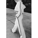 Color Block Striped Trim Crisscross Long Sleeve Cropped Hoodie with Wide-Leg Pants