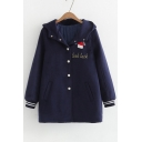 Winter's Warm Cartoon Girl Embroidered Hooded Long Sleeve Buttons Down Coat