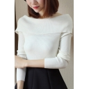 Simple Plain Boat Neck Long Sleeve Pullover Skinny Ribbed Sweater