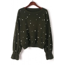 New Stylish Pearls Embellished Long Sleeve Round Neck Comfort Pullover Sweater