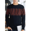 Color Block Line Pattern Round Neck Long Sleeve Sweater