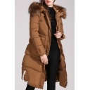Women's Faux Fur Hooded Zip-Up Long Sleeve Longline Slim Down Coat