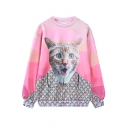 New Stylish Animal Print Color Block Round Neck Long Sleeve Pullover Sweatshirt