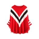 Color Block Chevron Pattern Round Neck Tassel Hem Batwing Long Sleeve Sweater
