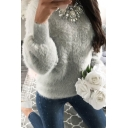 Simple Plain Round Neck Long Sleeve Puff Pullover Sweater