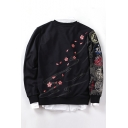 New Fashion Floral Character Embroidered Round Neck Long Sleeve Pullover Sweatshirt