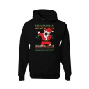 New Fashion Father Christmas Print Long Sleeve Hoodie
