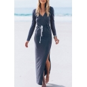 Simple Plain V-Neck Drawstring Waist Split Side Long Sleeve Wrap Maxi Dress