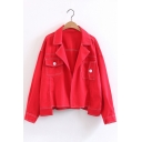 New Stylish Plain Notched Lapel Long Sleeve High Low Hem Denim Jacket