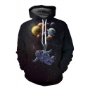Color Block Balloon Astronaut Print Long Sleeve Leisure Casual Hoodie with Pockets