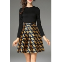 Chic Round Neck Long Sleeve Dove Pattern Flared Short Dress