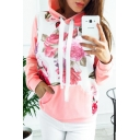 Color Block Floral Panel Long Sleeve Hoodie with Patch Front Pocket